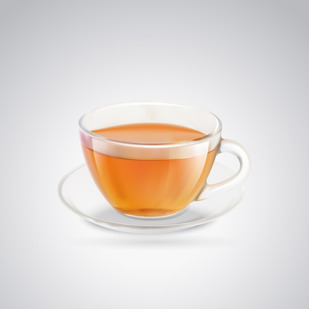 Glass cup of black tea. Free Vector
