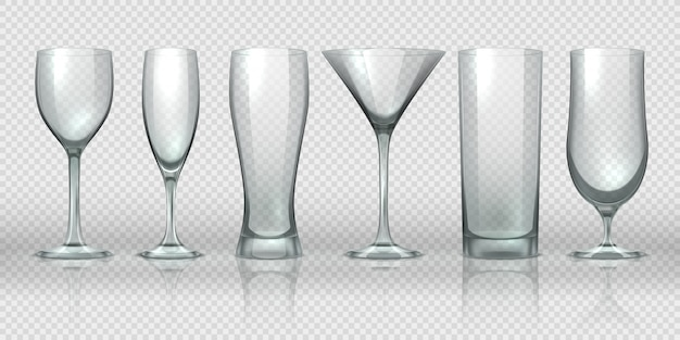 Glass cups. empty transparent glasses and goblet mockups, realistic 3d bear pint and cocktail glassware. Premium Vector