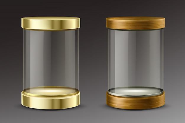 황금과 나무 뚜껑이있는 유리 실린더 캡슐 무료 벡터