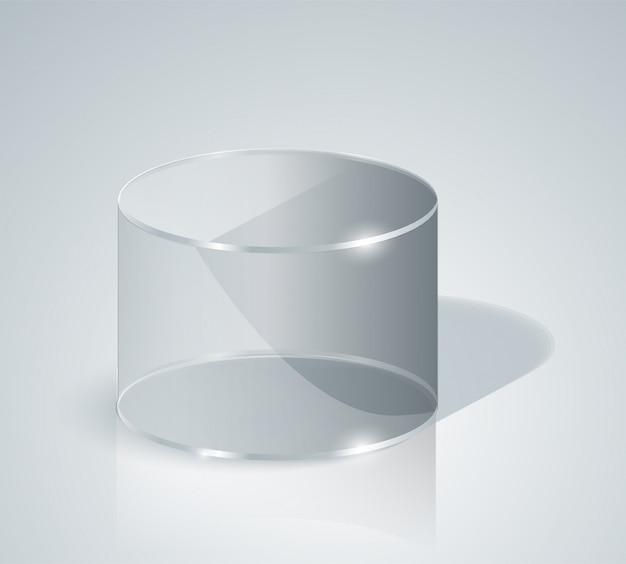 유리 실린더. 투명한 실린더. 외딴. 프리미엄 벡터