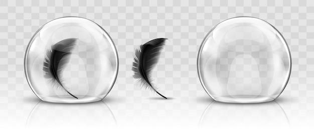 Стеклянный купол или сфера и черное перо реалистично Бесплатные векторы
