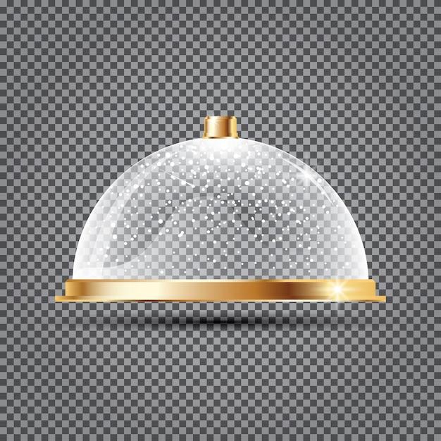 Стеклянный купол со снегом на прозрачном фоне Premium векторы