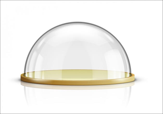 Glass dome and wooden tray realistic vector Free Vector