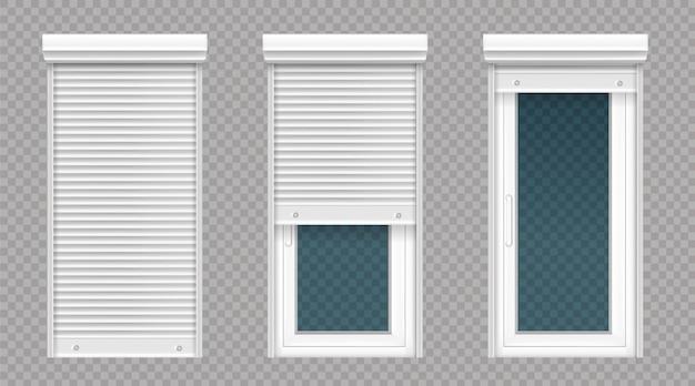 Стеклянная дверь или окно с белой рольставней Бесплатные векторы