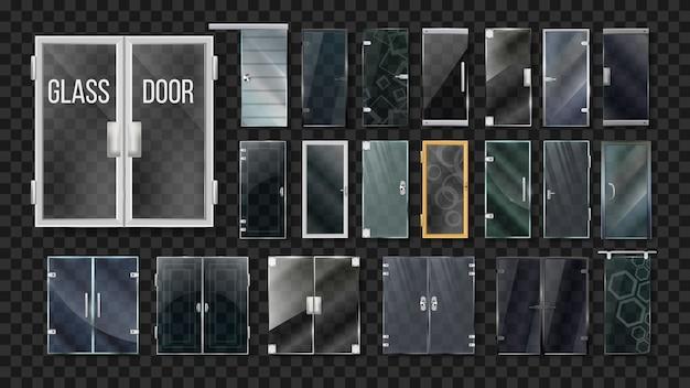 Glass doors architecture collection set Premium Vector
