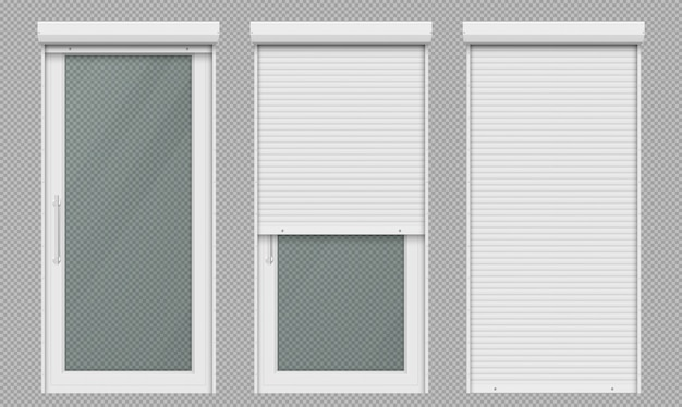 Glass doors with white rolling shutter Free Vector