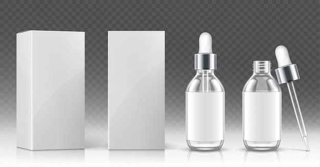 Glass dropper bottle for cosmetic oil or serum and white package box in front and angle view Free Vector