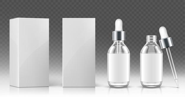 Стеклянная бутылка-капельница для косметического масла или сыворотки и белая упаковочная коробка спереди и под углом Бесплатные векторы