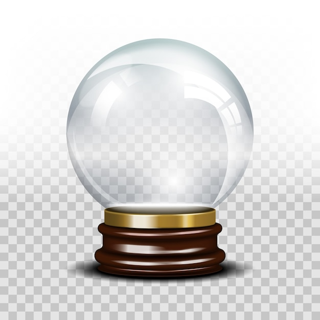 Glass empty snow globe. crystal glossy sphere Free Vector