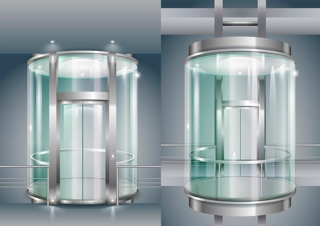 Glass enclosed elevator Premium Vector