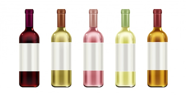 Glass flasks with blank label and cork for red, white and rose alcohol vine drinks Free Vector