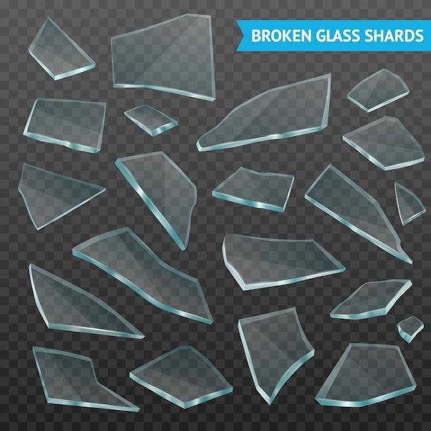 Glass fragments realistic dark transparent set Free Vector