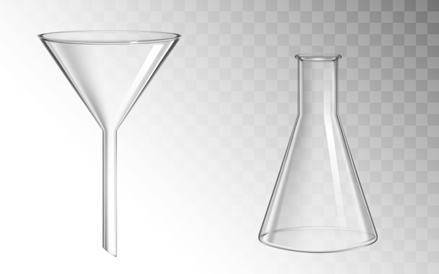 Glass funnel and flask, glassware for chemical lab Free Vector