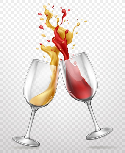Glass goblets with splashing wine realistic Free Vector