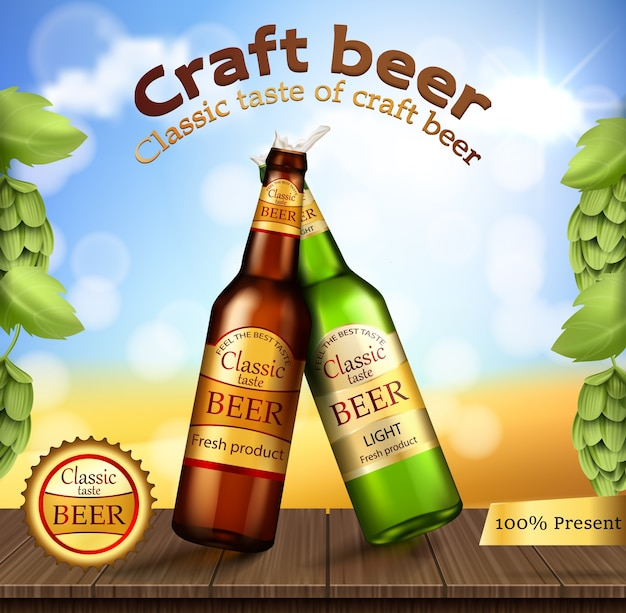 Glass green and brown bottles with craft beer Free Vector