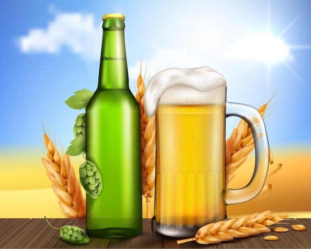 Glass green bottle and mug with craft beer Free Vector