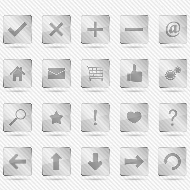 Стеклянные иконки Premium векторы