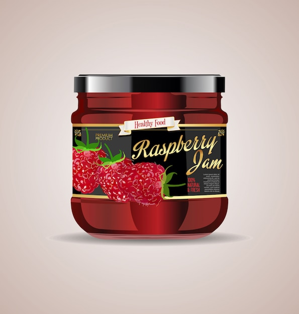 Glass jar mockup raspberry jam package design Premium Vector