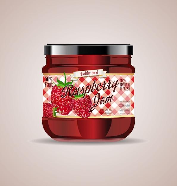 Glass jar mockup raspberry jam package design Premium Vector