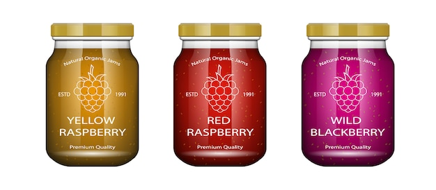 Glass jar with jam and configure with raspberry.  packaging collection. label for jam. bank realistic. Premium Vector