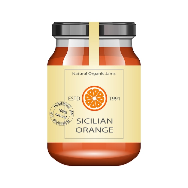 Glass jar with orange jam and configure.  packaging collection. vintage label for jam. bank realistic. Premium Vector
