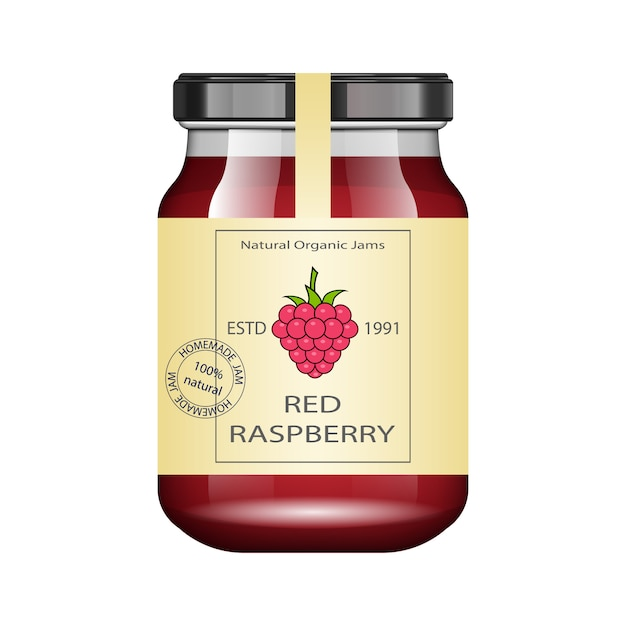 Glass jar with raspberry jam and configure.  packaging collection. vintage label for jam. bank realistic. Premium Vector