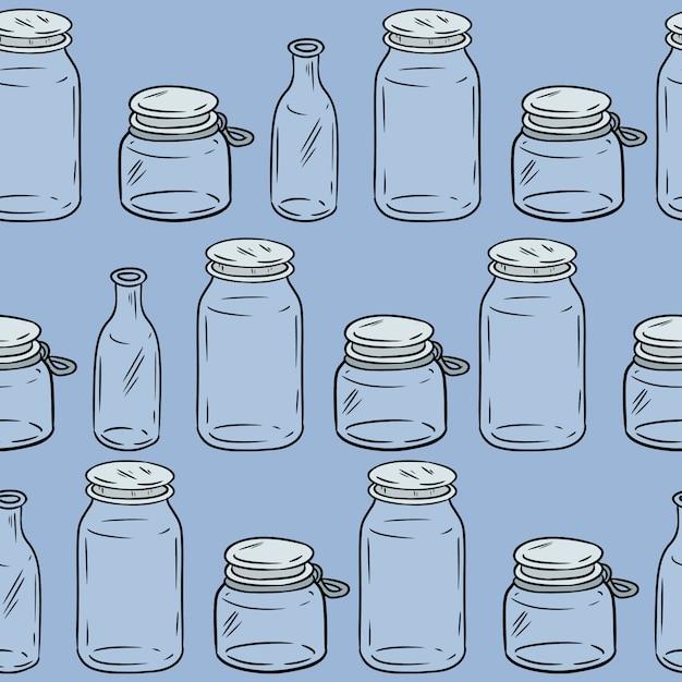 Glass jars seamless pattern. Premium Vector