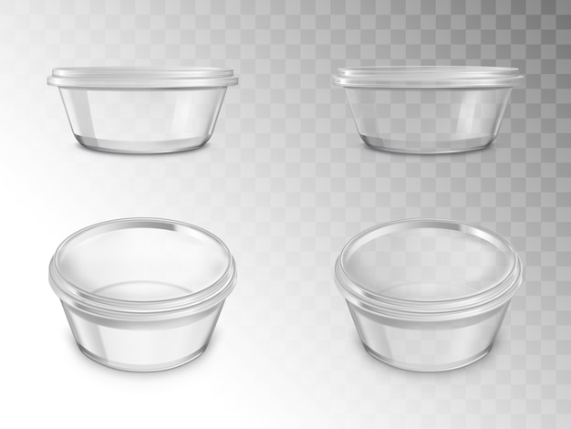 Glass jars set, empty open containers for canning Free Vector