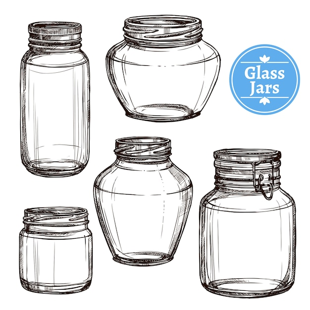 Glass jars set Free Vector