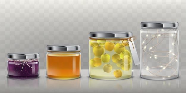Vasi di vetro con cibo e set di vettore ghirlanda Vettore gratuito