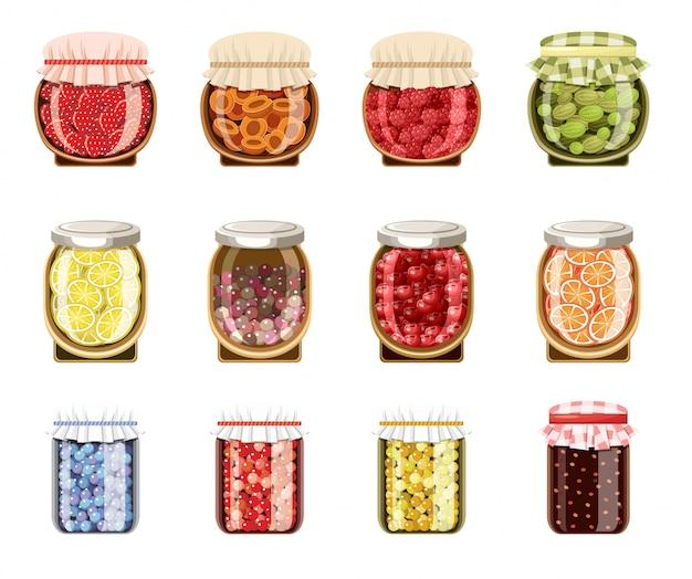 Стеклянные банки с фруктово-ягодным вареньем Premium векторы