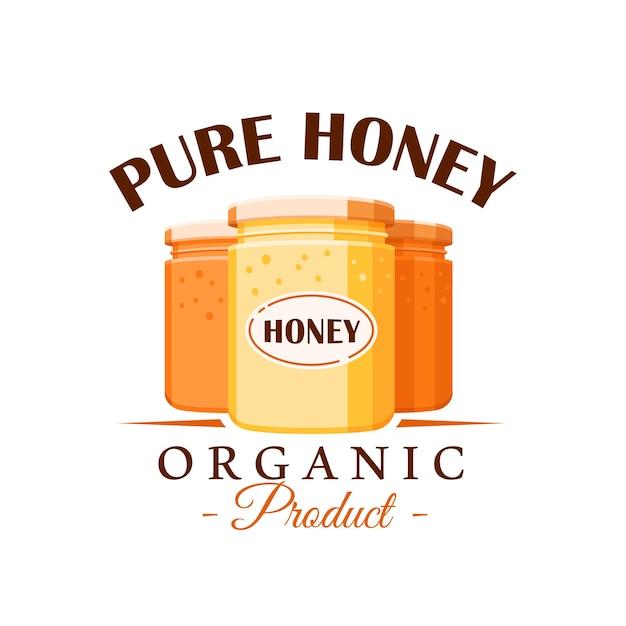 Стеклянные банки с медом на белом фоне. этикетка меда, логотип, концепция эмблемы. иллюстрация Premium векторы