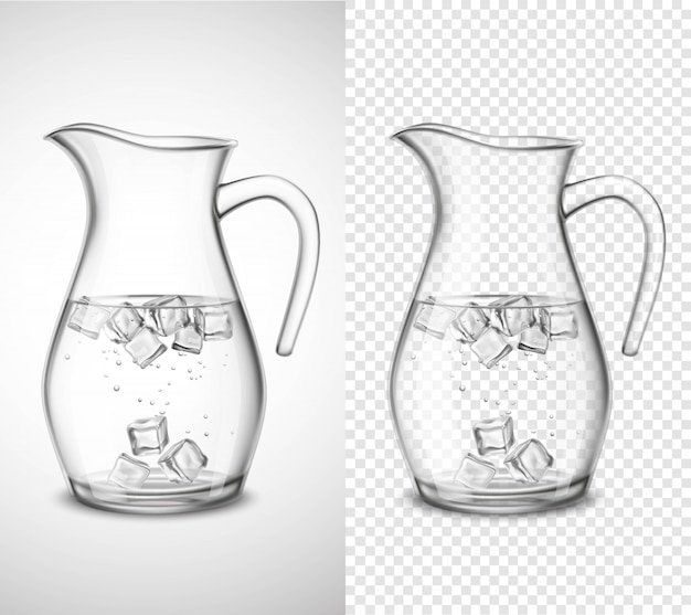 Glass jug with water and ice Free Vector