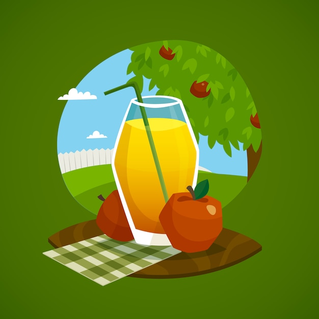 Glass of juice with rural landscape  background Free Vector