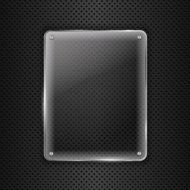 Glass on metal background Free Vector
