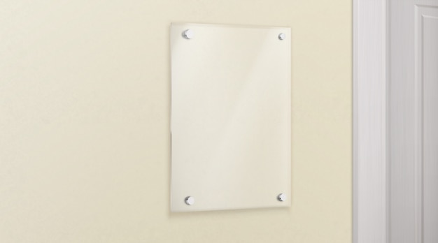 Glass methacrylate plate on wall realistic vector Free Vector