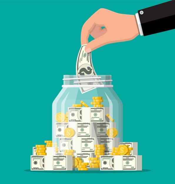 金貨と紙幣でいっぱいのガラスのお金の瓶。貯金箱に1ドル硬貨を保存します。成長、収入、貯蓄、投資。富の象徴。ビジネスの成功。フラットスタイルのベクトル図です。 Premiumベクター