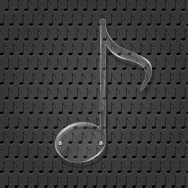 Glass music note sign Premiumベクター