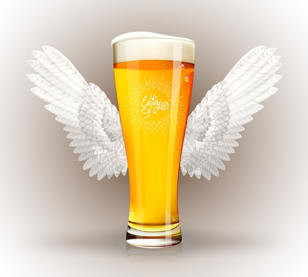 Стакан пива с крыльями ангела и хипстерской эмблемой Бесплатные векторы