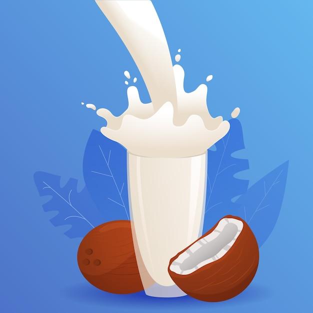 Стакан всплеска кокосового молока. напиток из орехов и овощей. напиток для веганов и вегетарианцев. растительное молоко. Premium векторы