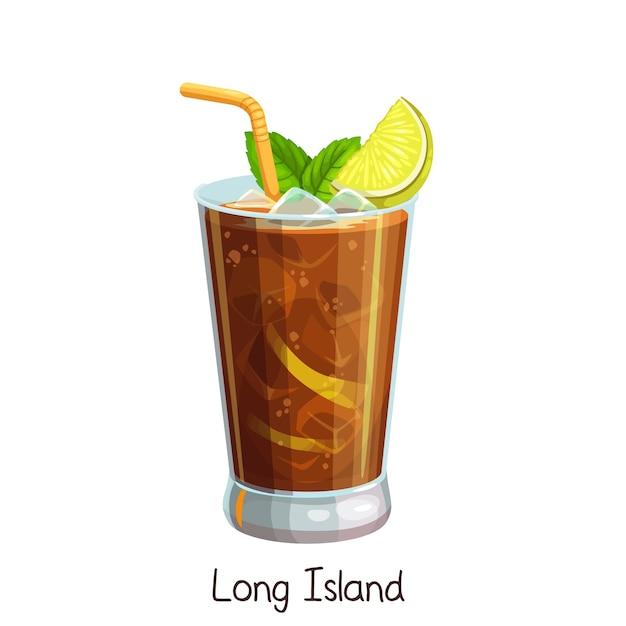 白にスライスレモンとミントの葉とロングアイランドカクテルのグラス。カラーイラスト夏のアルコール飲料。 Premiumベクター