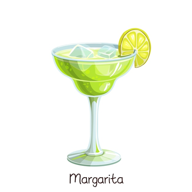 Стакан коктейля маргарита с ломтиком лайма на белом. цветные иллюстрации летний алкогольный напиток. Premium векторы