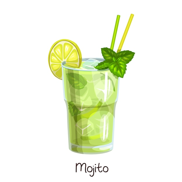白地にスライスレモンとミントの葉を添えたモヒートカクテルのグラス。カラーイラスト夏のアルコール飲料。 Premiumベクター
