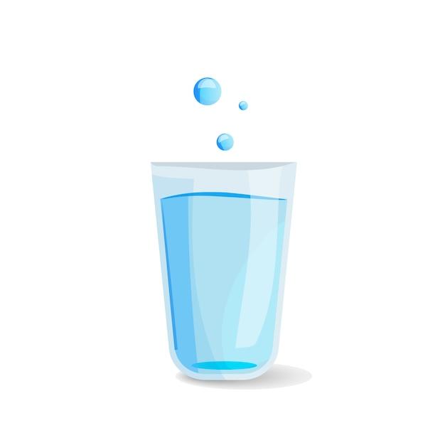 水のガラスのアイコン。 Premiumベクター