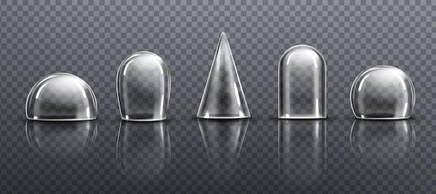 유리 또는 투명 플라스틱 돔 다른 모양 무료 벡터