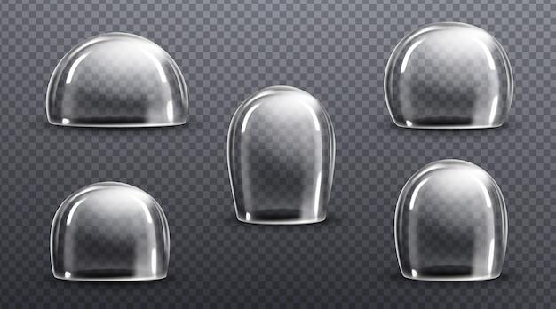 유리 또는 투명한 플라스틱 돔. 빈 보호 커버, 아크릴 벨 항아리의 벡터 현실적인 모형 무료 벡터