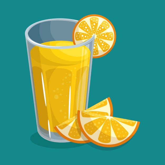 Glass of orange juice with slices of fruit Premium Vector
