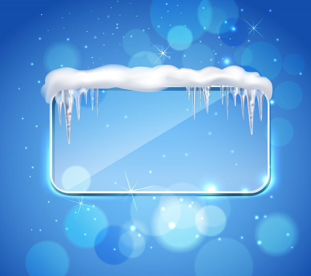 Glass panel with icicles realistic Free Vector