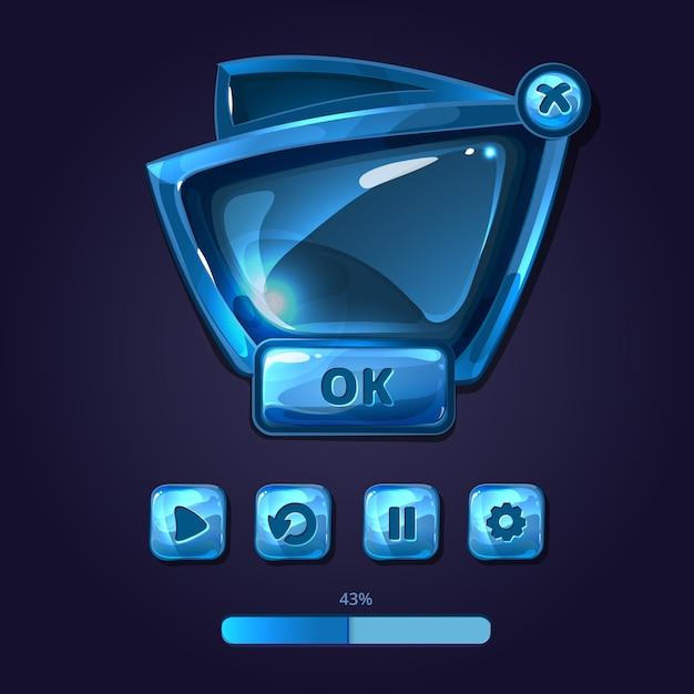 유리 패널 및 버튼 게임 ui 만화 스타일. 인터페이스 광택, 사용자 gui, 디자인 템플릿 무료 벡터