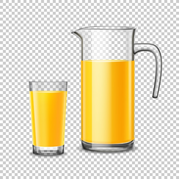 Glass and pitcher with orange juice on transparent background Free Vector